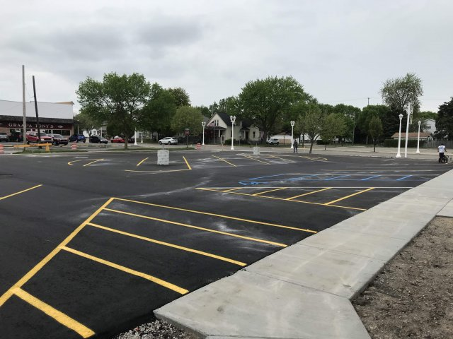 Parking lot with markers